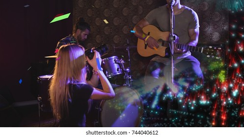 Digital composite of band playing at concert with transition