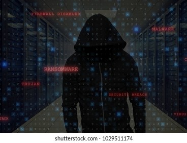 Digital composite of Black jumper hacker with out face hacking a interface