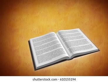 Digital composite of Book open against orange background