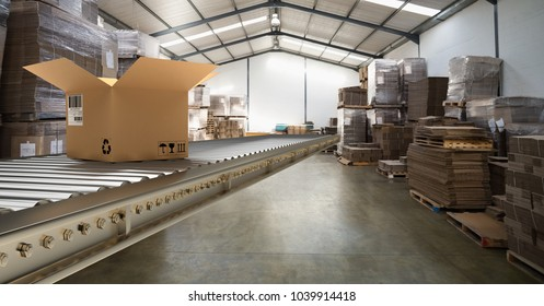 Digital composite of box on conveyor belt in warehouse, transition