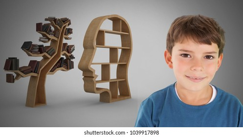 Digital composite of Boy against grey background smiling and head and tree bookshelf of knowledge