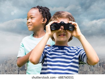 Digital composite of Boys with binoculars over city