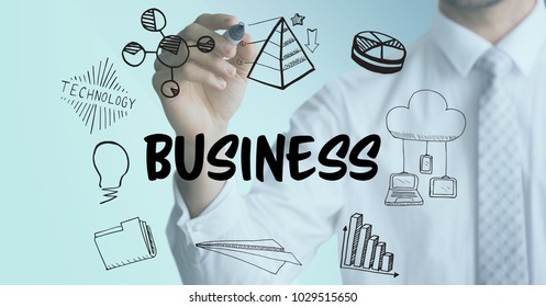 Digital composite of Business man mid section with marker behind business doodles and light blue overlay