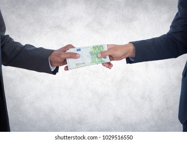 Digital composite of Business money exchange against white grunge background