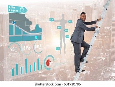 Digital composite of Businessman climbing on a Ladder against a neutral city background