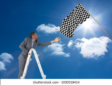 Digital composite of Businessman with leader taking the checker flag in the sky