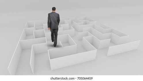 Digital composite of Businessman walking through small maze