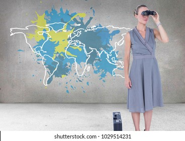Digital composite of Businesswoman looking through binoculars with Colorful Map with paint splattered wall background