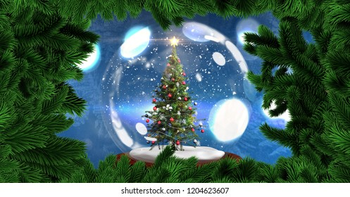 Digital composite of Christmas tree in snow globe with Christmas tree border