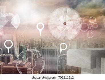 Digital composite of City with marker location pointers and interface