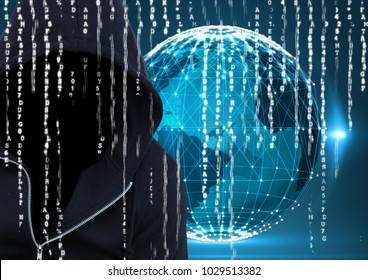 Digital composite of Dark blue jumper hacker with out face. Foreground. earth background, binary code
