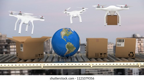 Digital composite of Drones delivering parcel boxes from conveyor belt over city