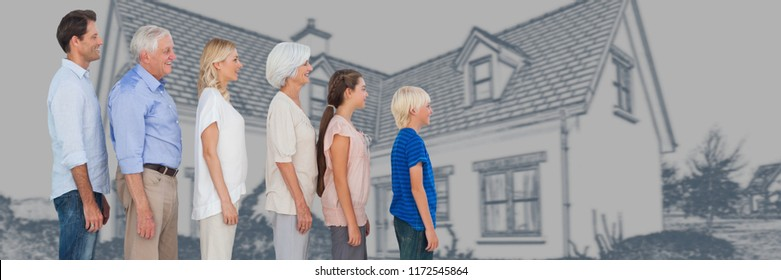 Digital composite of Family generations descending in height in front of house drawing sketch
