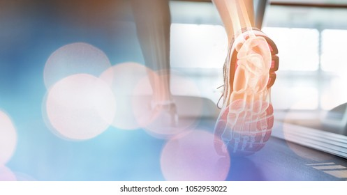 Digital composite of Feet on treadmill and blue bokeh transition