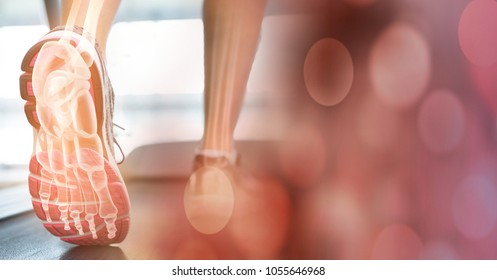 Digital composite of Feet on treadmill and red bokeh transition