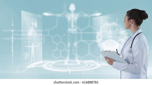 Digital composite of Female doctor looking at medical background