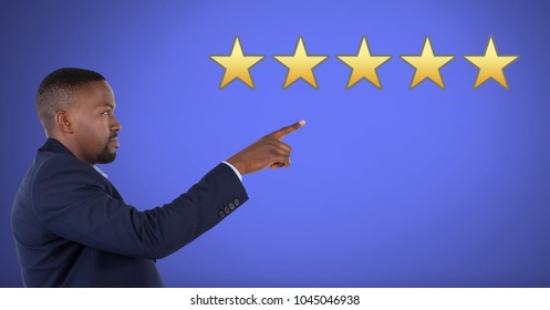Digital composite of Five star review rating and businessman pointing