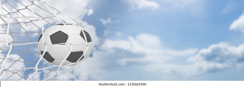 Digital composite of Football in goal net with sky transition