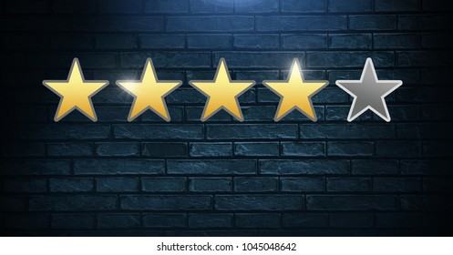 Digital composite of Four star review rating