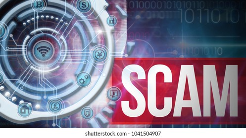 Digital composite of Futuristic business icons technology interface and scam text
