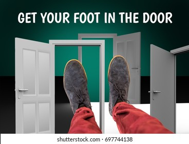 Digital composite of Get your foot in the door text and Grey shoes on feet with green background