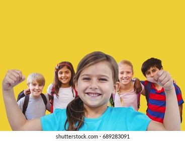 Digital composite of Girl flexing muscles with friends in front of yellow background