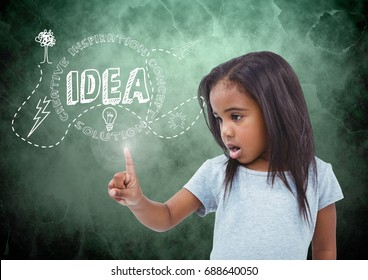 Digital composite of Girl touching flare glow with green background and idea graphics