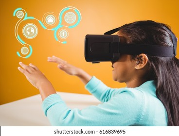 Digital composite of Girl wearing VR Virtual Reality Headset with Interface