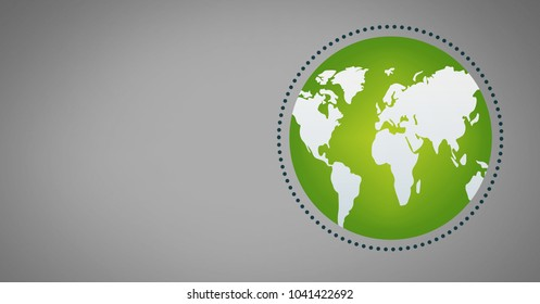 Digital composite of Grey background with green world globe