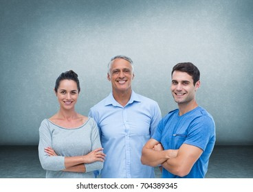 Digital composite of Group of people in front of blue background