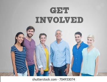 Digital composite of Group of people standing in front of Get Involved graphics
