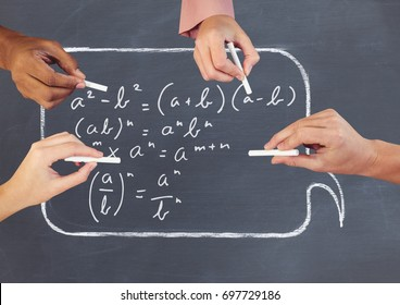 Digital composite of Hands writing equations on blackboard
