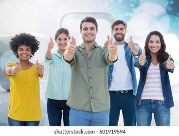 Digital composite of Happy Goup of Friends Thumbs Up against a Bright background