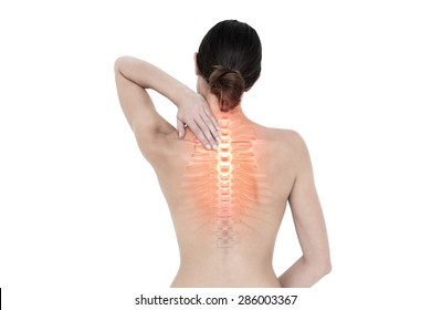 Digital composite of Highlighted back pain of woman