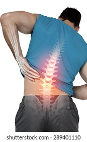 Digital composite of Highlighted back pain of fit man