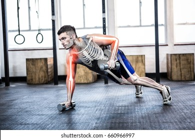 Digital composite of highlighted body of strong man lifting weights at gym