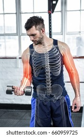 Digital composite of highlighted bones of strong man lifting weights at gym