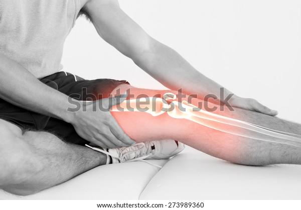 Digitaler Verbund des markierten Knies der Verletzten