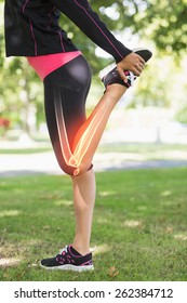 Digital composite of Highlighted leg of stretching woman