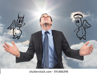 Digital composite image of businessman with angel and demon against the sky