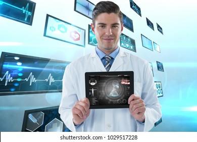 Digital composite of Composite image of doctor showing tablet