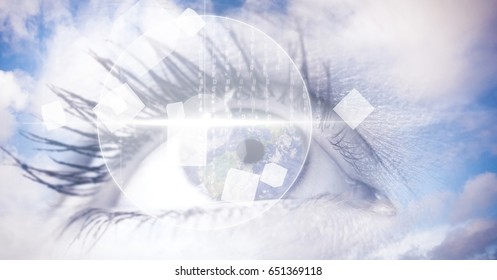 Digital composite of Digital composite image of eye interface with clouds