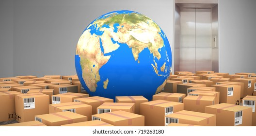 Digital composite image of globe amidst cardboard boxes against room with elevator