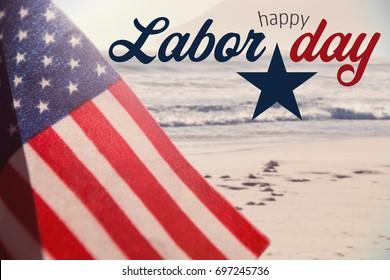 Digital composite image of happy labor day text with star shape against scenic view of beach