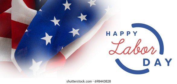 Digital composite image of happy labor day text with blue outline against full frame of wrinkled american flag