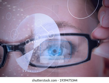 Digital composite image of round scanner and data processing against close up of female human eye. cyber security and digital interface technology concept