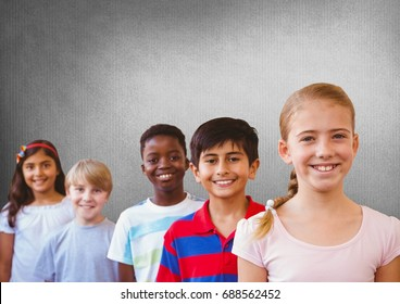 Digital composite of kids friends with blank grey background