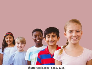 Digital composite of kids friends with blank pink background