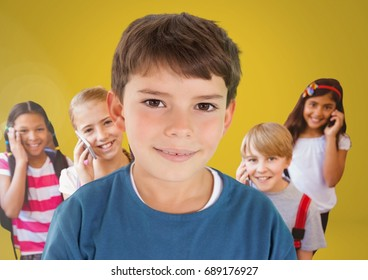 Digital composite of Kids in room on phones with yellow background