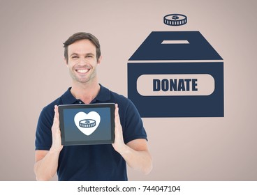 Digital composite of Man holding tablet with heart and money and donate to charity box